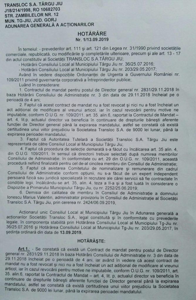 09:32 Procedura de selecție de la Transloc, ANULATĂ. Hotărârea AGA