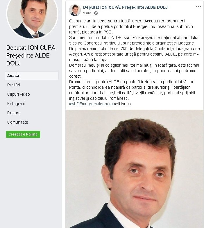 Ion Cupă: Demersul corect pentru ALDE nu poate fi fuziunea cu partidul lui Ponta