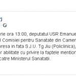 15:10 Emanuel Ungureanu REVINE la Târgu-Jiu. O nouă conferință în fața Policlinicii