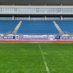 12:03 Însemnele FCU pe stadionul din Târgu-Jiu