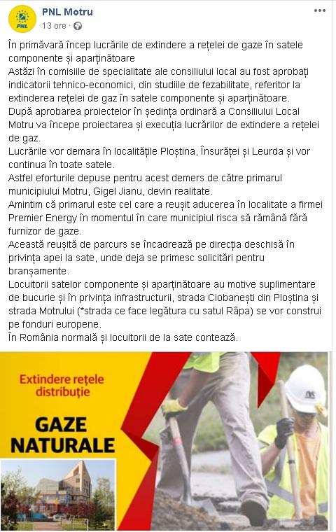 09:28 Rețea de gaze și-n satele componente. ANUNȚUL PNL Motru