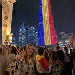 Burj al-Khalifa, cea mai înaltă clădire din lume, iluminată în culorile drapelului României, de 1 Decembrie