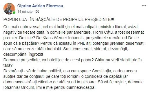20:52 Florescu, după ce Iohannis l-a desemnat pe Cîțu premier: Sunt CONSTERNAT!
