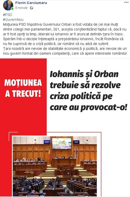 16:07 Senatorul Cârciumaru: Sperăm într-o decizie înțeleaptă a președintelui Iohannis