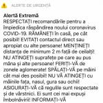 18:50 A fost activat sistemul RO-ALERT de tip ALERTĂ EXTREMĂ în cazul COVID-19: RĂMÂNEȚI în casă!
