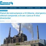 e-nergia.ro: Planul de restructurare a CE Oltenia, ÎN AER