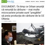 """09:14 ecopolitic.ro: Microcariere private, """"pregătite"""" să preia producția de cărbune de la CE Oltenia"""