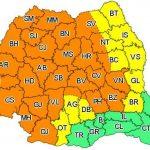 11:11 Cod galben şi Cod portocaliu de vreme instabilă în majoritatea judeţelor, până luni dimineaţa