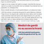 11.16 USR cere HRANĂ pentru medicii de gardă de la SJU Târgu-Jiu