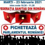 10:14 Sindicaliştii Sanitas pichetează Parlamentul României