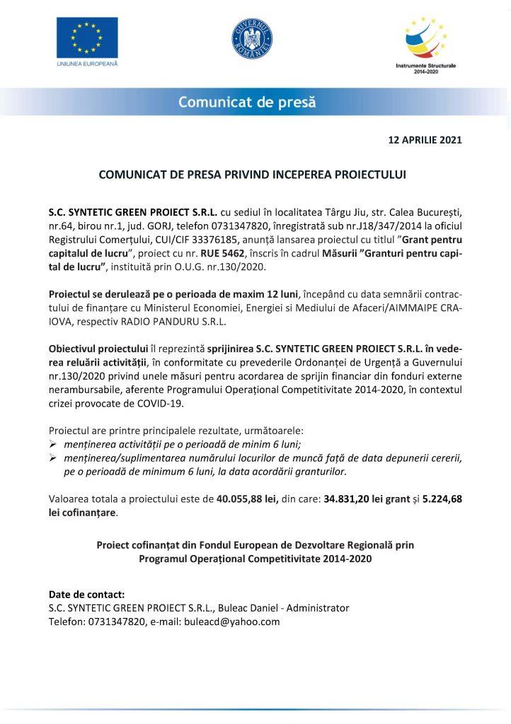 COMUNICAT DE PRESA PRIVIND INCEPEREA PROIECTULUI