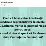 09:23 Manu Tomescu: Cred că boșii celor 4 federații vor să ia Premiul Nobel pentru Pace