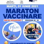 Tinerii de 16 și 17 ani, vaccinați anti-COVID, pe 1 iunie, în Parcul Central